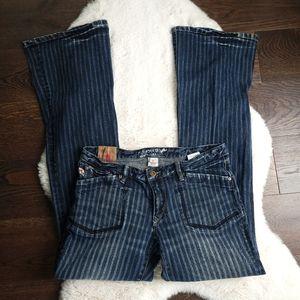 Vintage Parasuco Y2K 90s Flare Stripe Denim Jeans Size 31